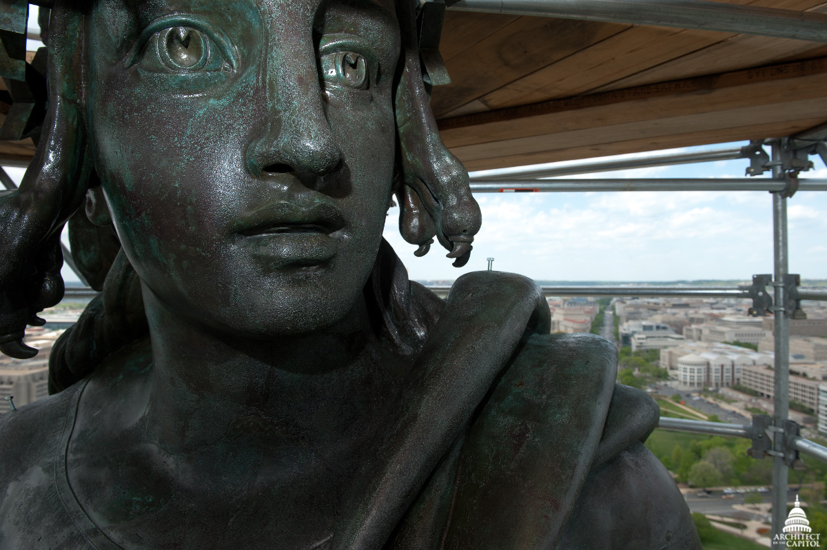 Statue of Freedom close-up from the Architect of the Capitol's 2012 preservation.