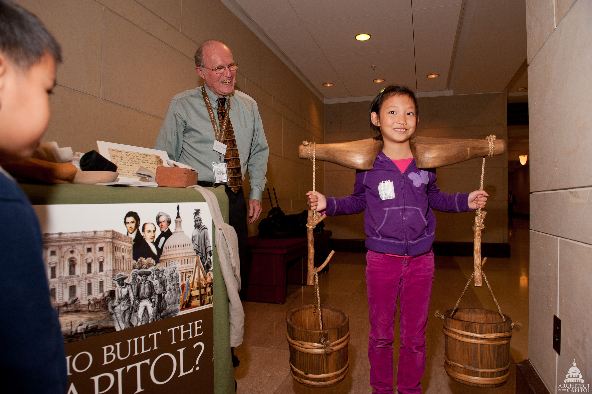 An education cart at the Capitol Visitor Center teaches children about the construction of the U.S. Capitol and the workers who helped to build it.