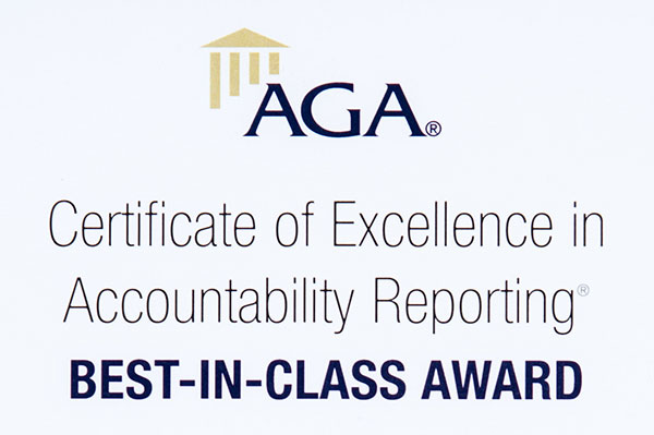 AGA Certificate of Excellence in Accountability Reporting Best-in-Class Award