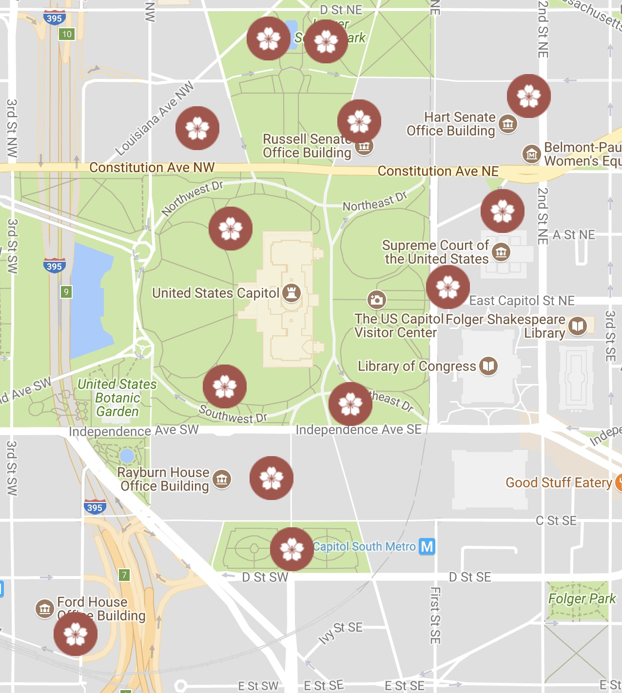 Map of cherry tree groups found on the U.S. Capitol campus.