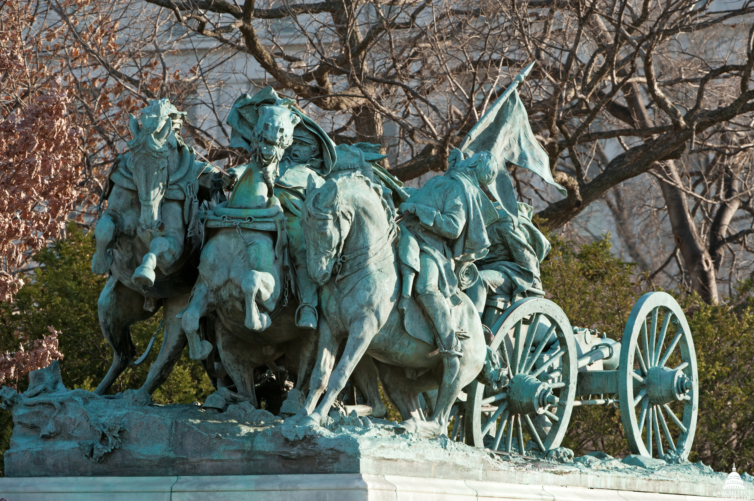 Photo of the damage to be restored on the Grant Memorial.