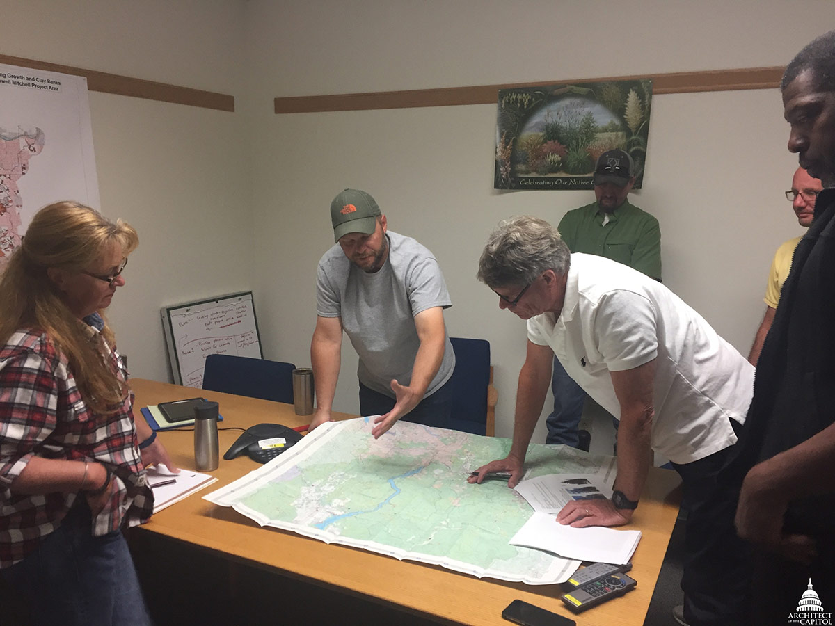 Mapping it all out at the U.S. Forest Service office.