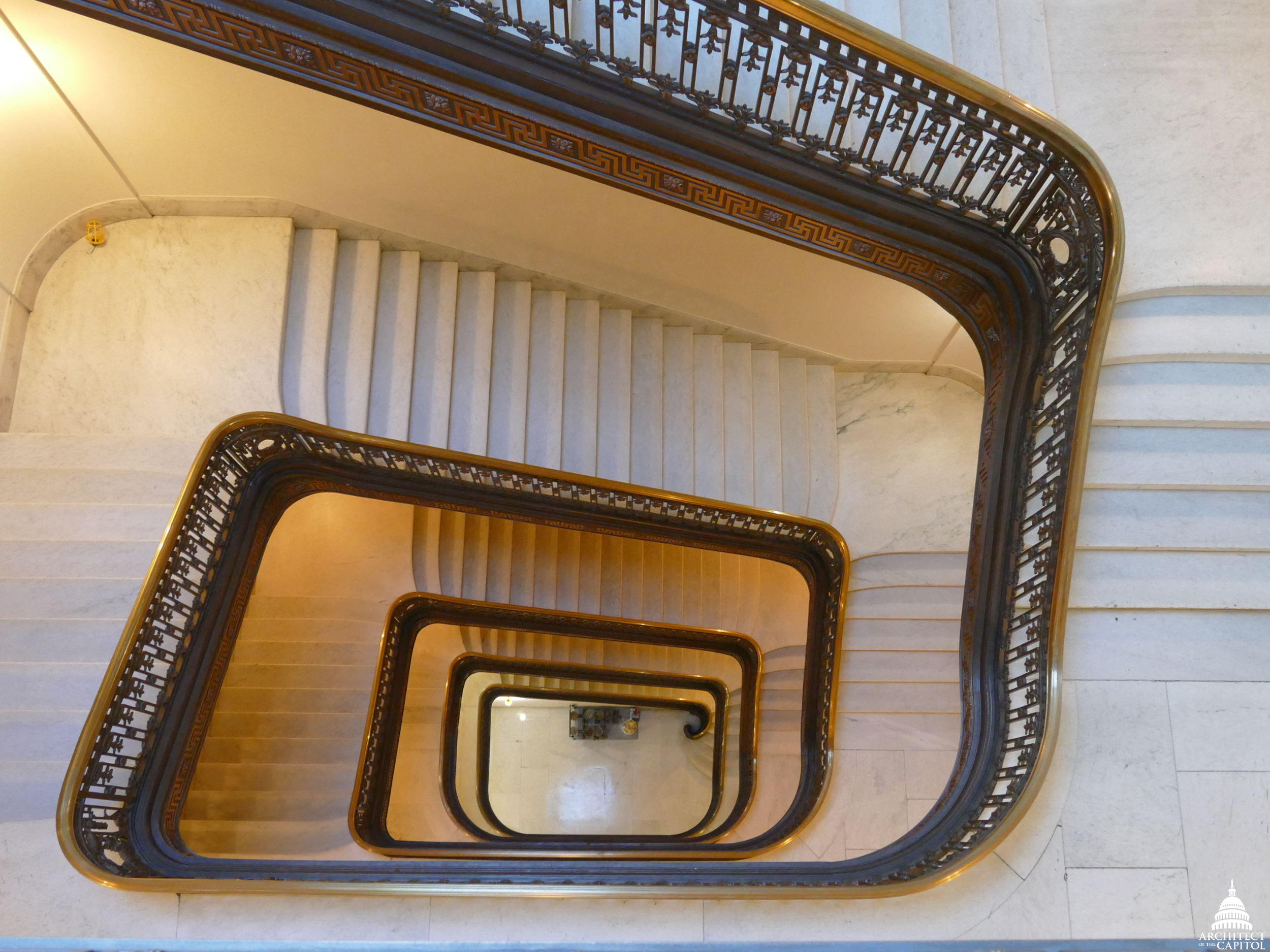 Overhead view of the Russell southeast stairwell, an open staircase serving all floors of the Russell Building.