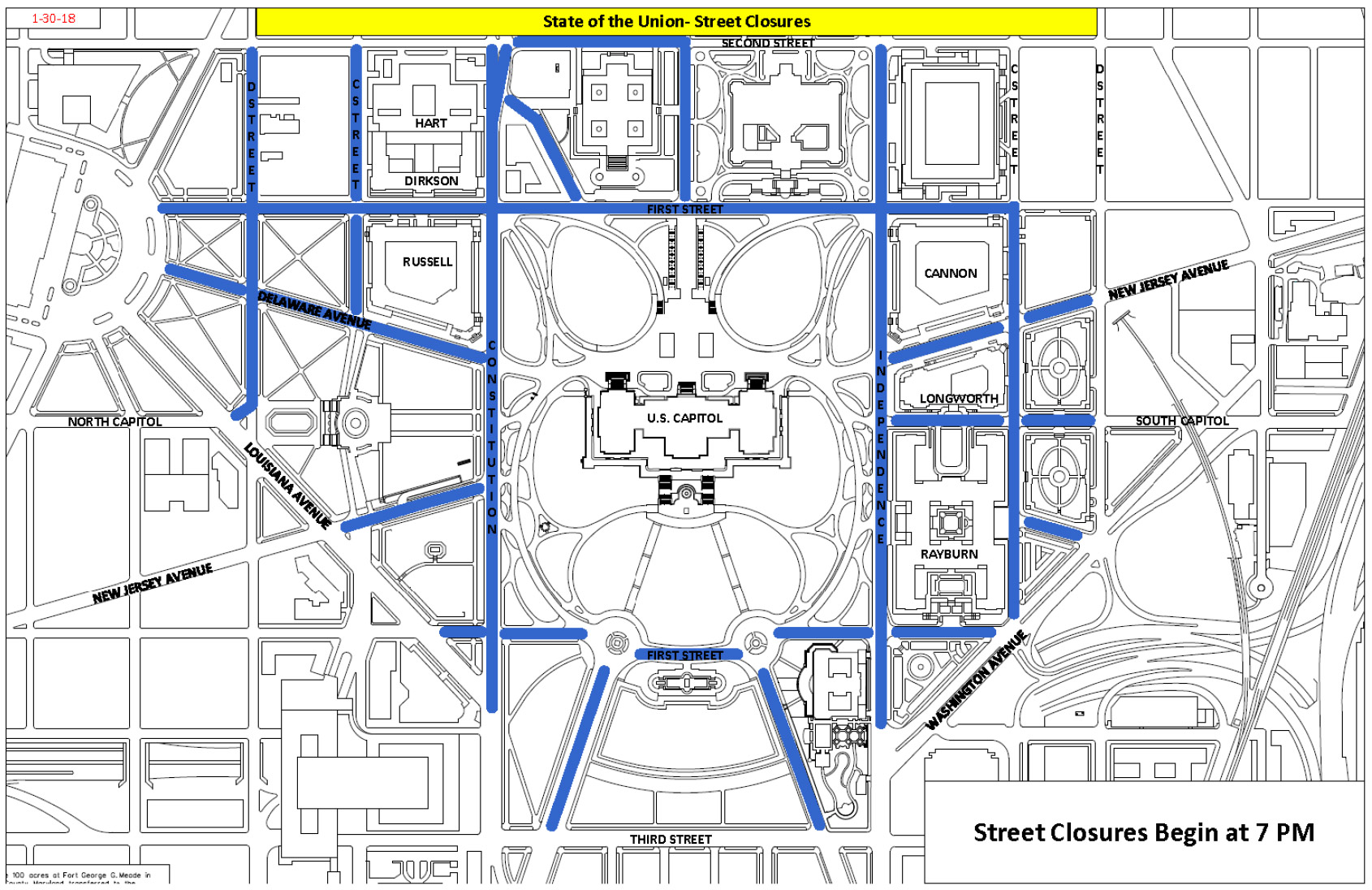 2018 State of the Union street closure map.