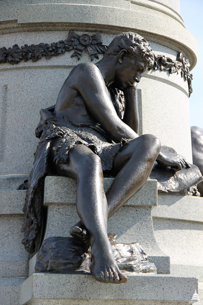 The young student figure on Garfield Monument.