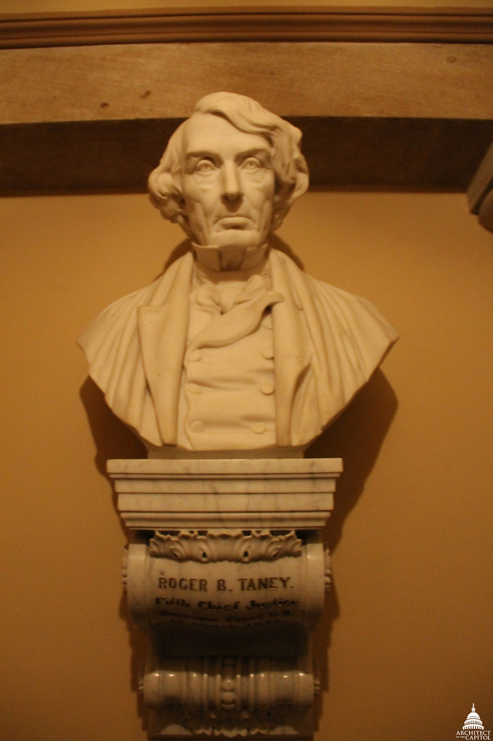Bust of Roger B. Taney in the Old Supreme Court Chamber of the U.S. Capitol