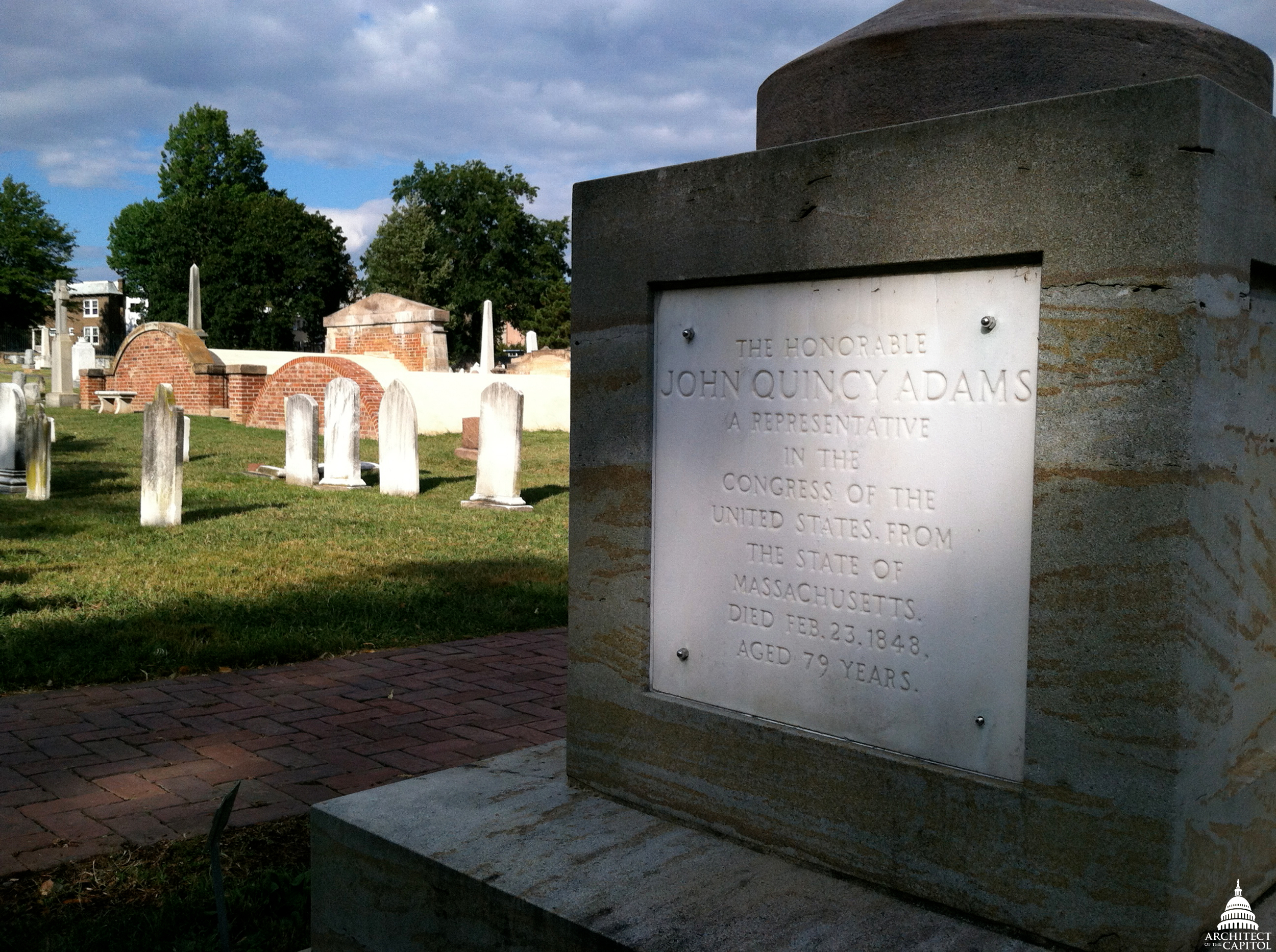 [ Photo of cenotaph honoring John Quincy Adams at the Congressional Cemetery. ]