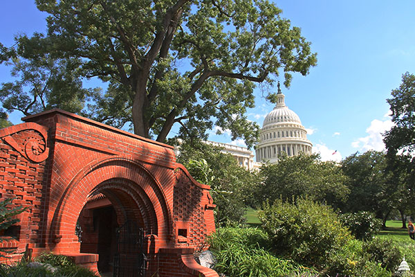 View of the Summerhouse with the U.S. Capitol Dome in the distance.