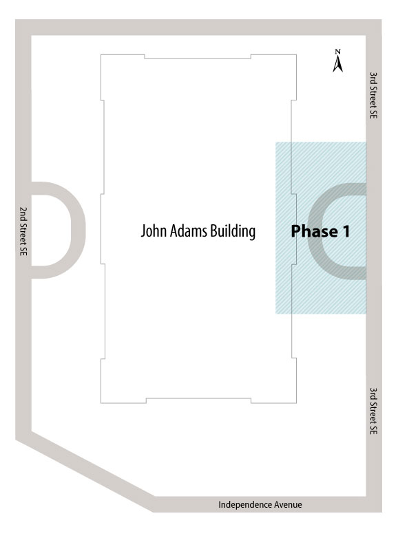 Map of phase 1 for the John Adams Garage Repair project.