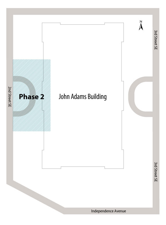 Map of phase 2 for the John Adams Garage Repair project.