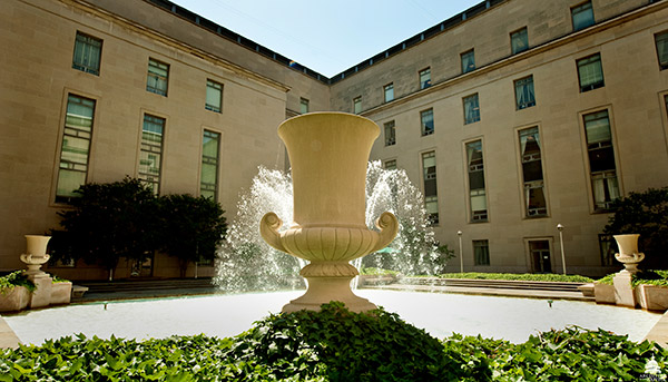 The courtyard fountain at Rayburn House Office Building.