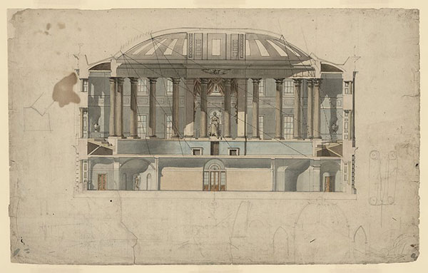 Latrobe drawing of the U.S. Capitol House chamber showing fall of light from skylights between the dome arches.
