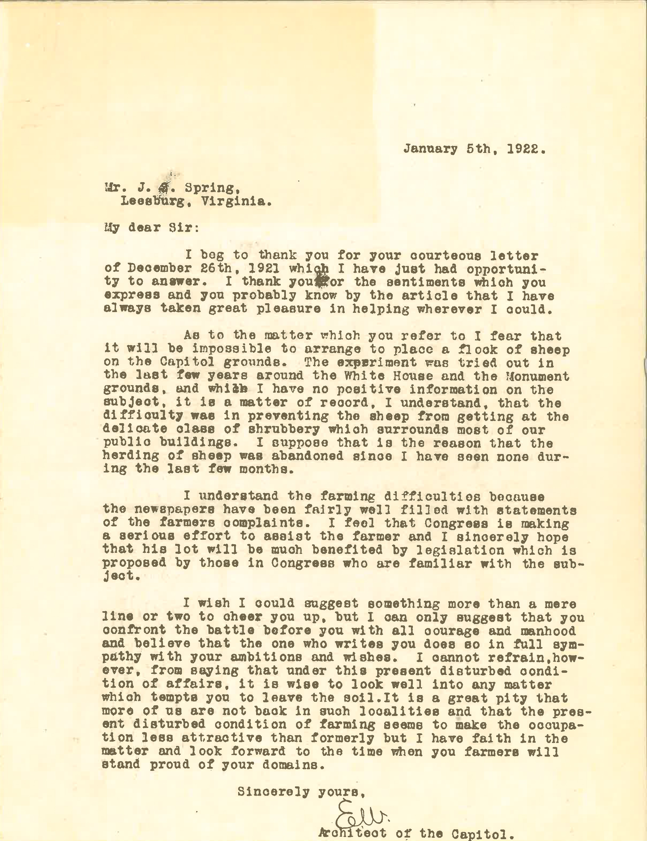 Elliot Woods response to J.S. Spring - January 5, 1922
