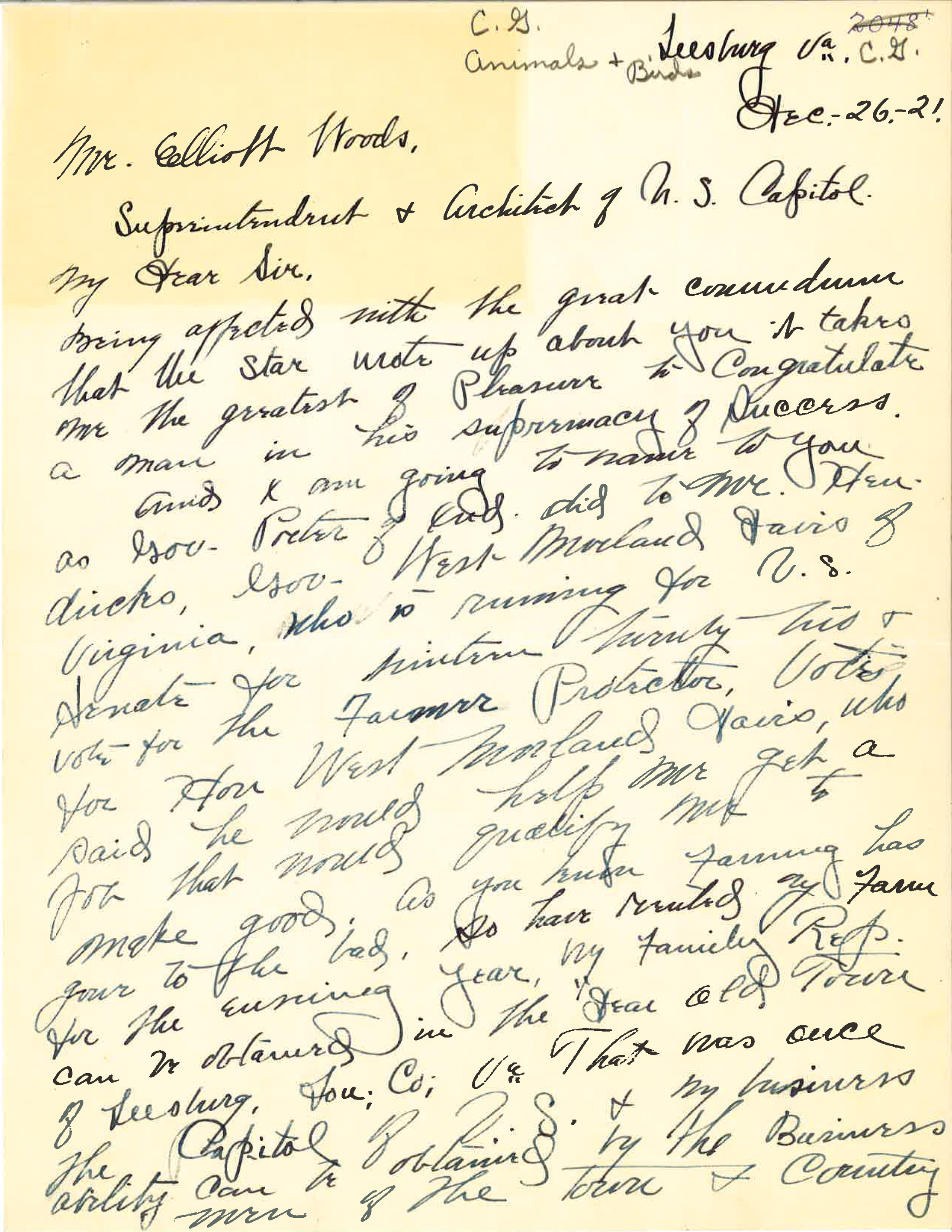 Letter from J.S. Spring to Elliot Woods - December 26, 1921