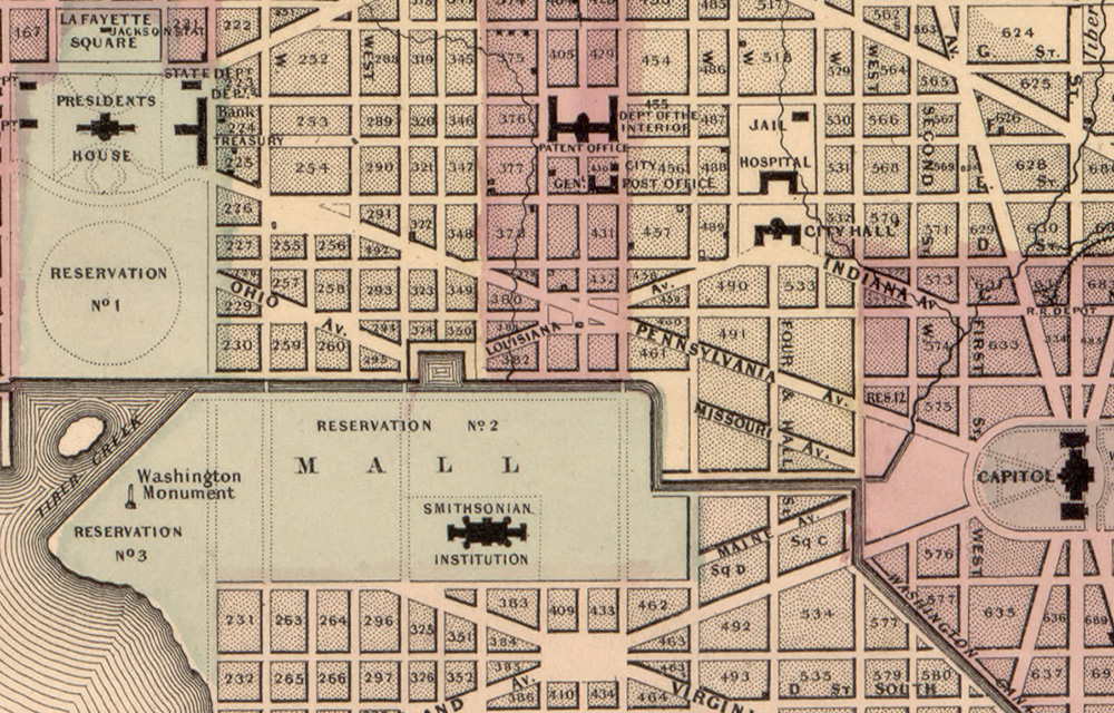 Map of Washington, D.C. printed in 1861, showing the location of the City Hall at the time.
