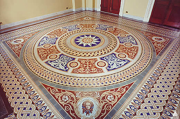 View of a minton tile floor in the U.S. Capitol.