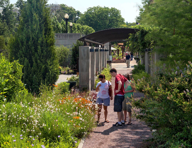 Tourists explore the USBG National Garden.