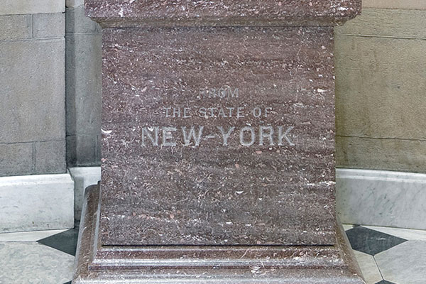 "The pedestal of George Clinton's statue in the U.S. Capitol reads ""From the State of New York."""