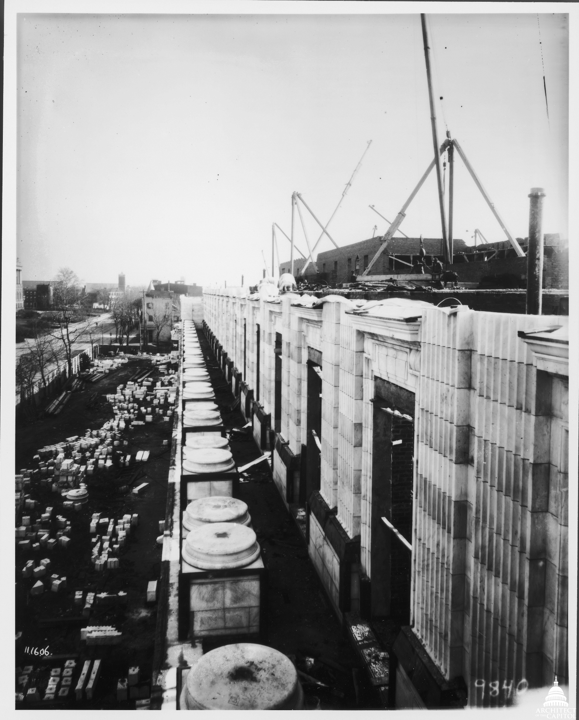 Column bases in place during the construction of the Cannon Building's colonnade in November 1906.