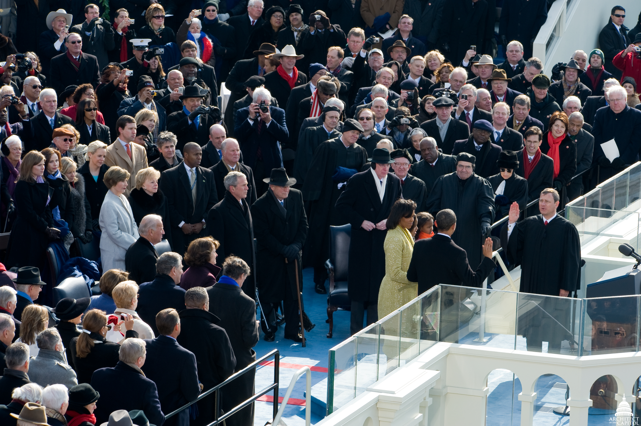 President Barack Obama takes the oath in 2009.
