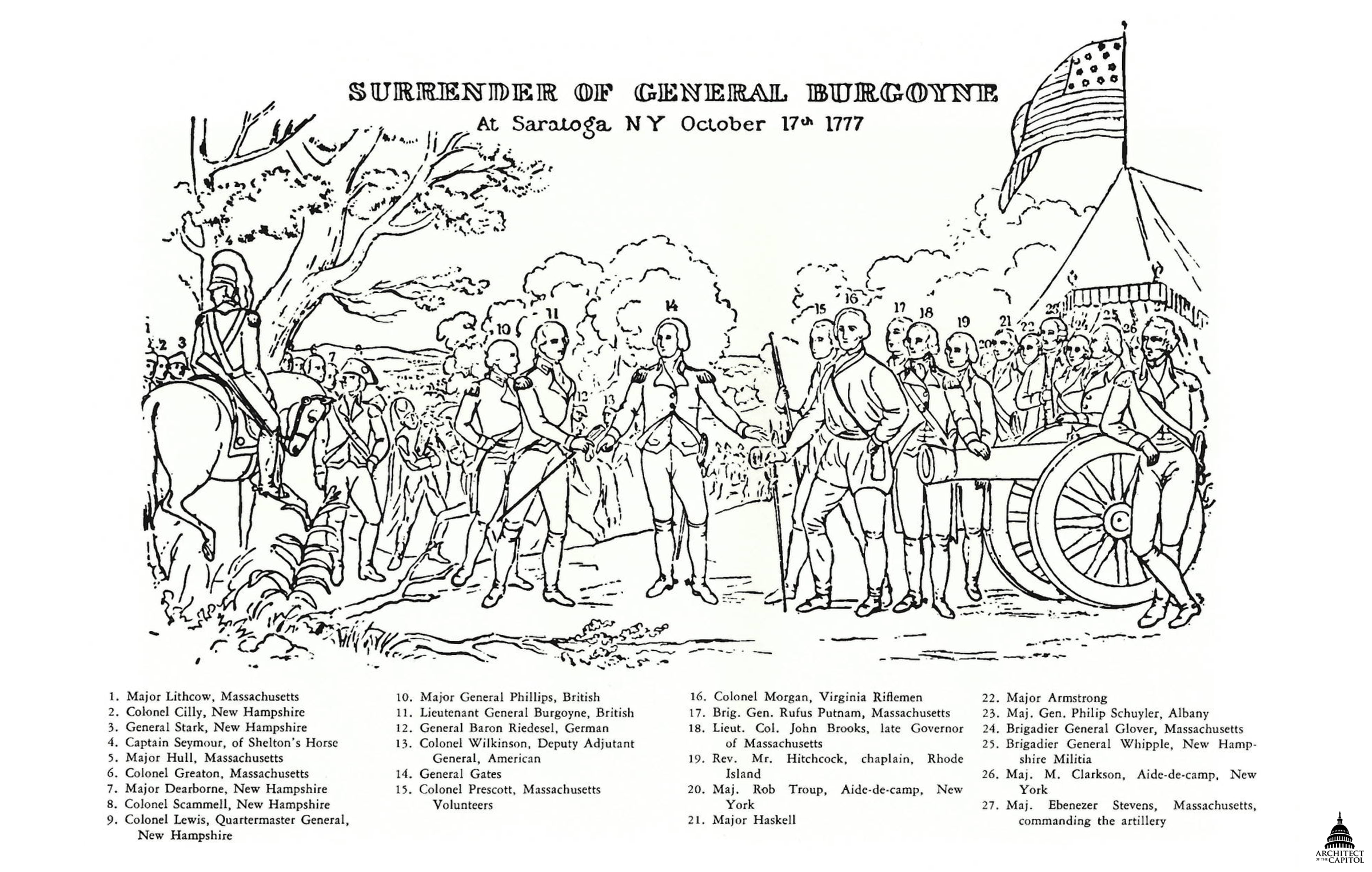 Surrender Of General Burgoyne Architect Of The Capitol - Us-history-map-activities-answer-key-american-revolution