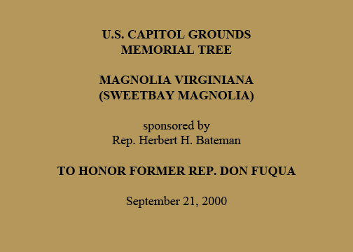 U.S. Capitol Grounds Memorial Tree  Magnolia virginiana (Sweetbay Magnolia)  Sponsored by Rep. Herbert H. Bateman  To Honor Former Rep. Don Fuqua  September 21, 2000