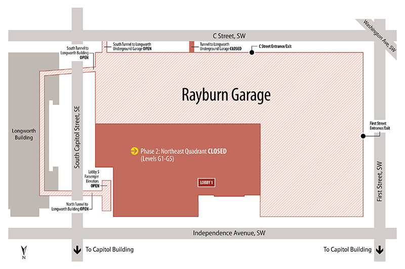 Map of closures for Phase 2 of the Rayburn Garage Interior Rehabilitation.