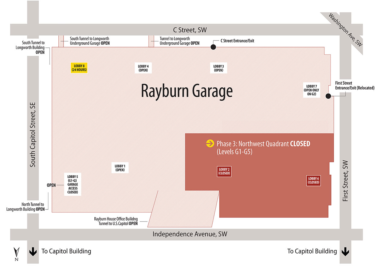 Map of closures for Phase 3 of the Rayburn Garage Interior Rehabilitation.