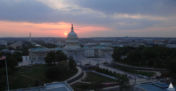 View of the East Front of the U.S. Capitol during a sunset in spring 2012.