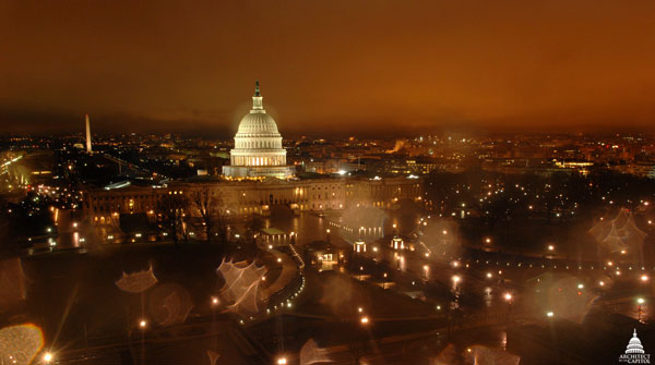 View of the East Front of the U.S. Capitol during winter 2012.