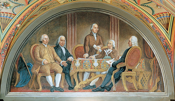 """The Signing of the First Treaty of Peace with Great Britain"" lunette in the U.S. Capitol's Brumidi Corridors."