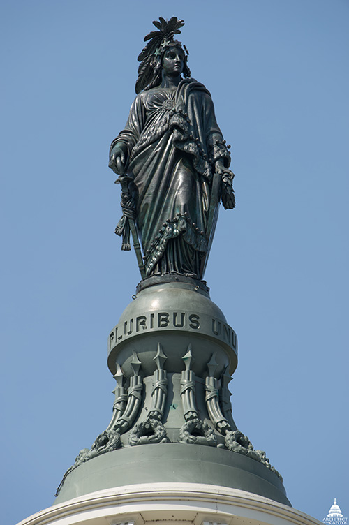 Statue of Freedom atop the United States Capitol dome.