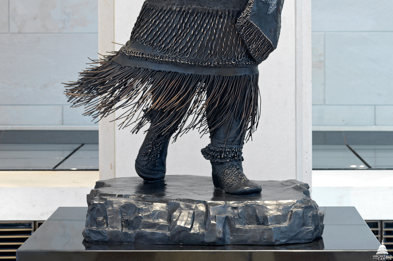 Detail of the dress of Sarah Winnemucca's statue.