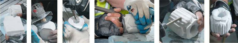 Starting with a square block of stone and an original ornament, a stone carver skillfully recreates one of the many stone ornaments damaged by exposure to the elements.