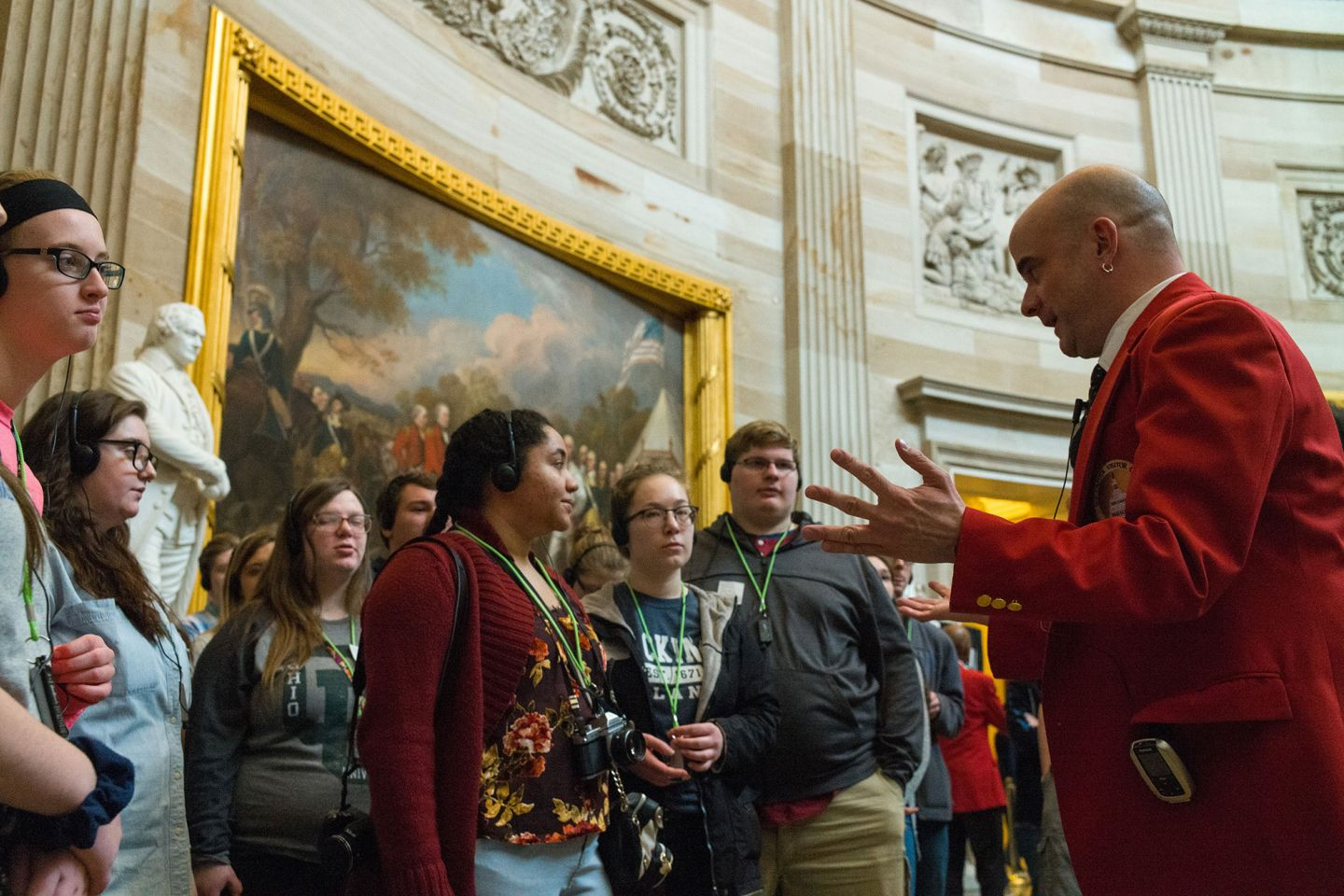 A tour with guide in the U.S. Capitol Rotunda.