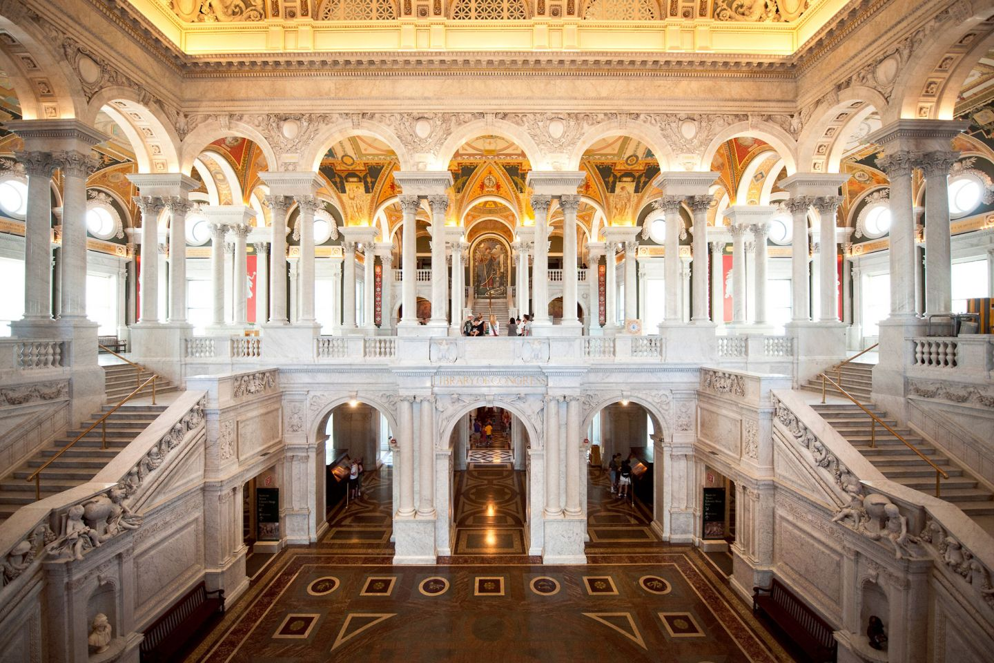 View of the Great Hall in the Library of Congress Thomas Jefferson Building.