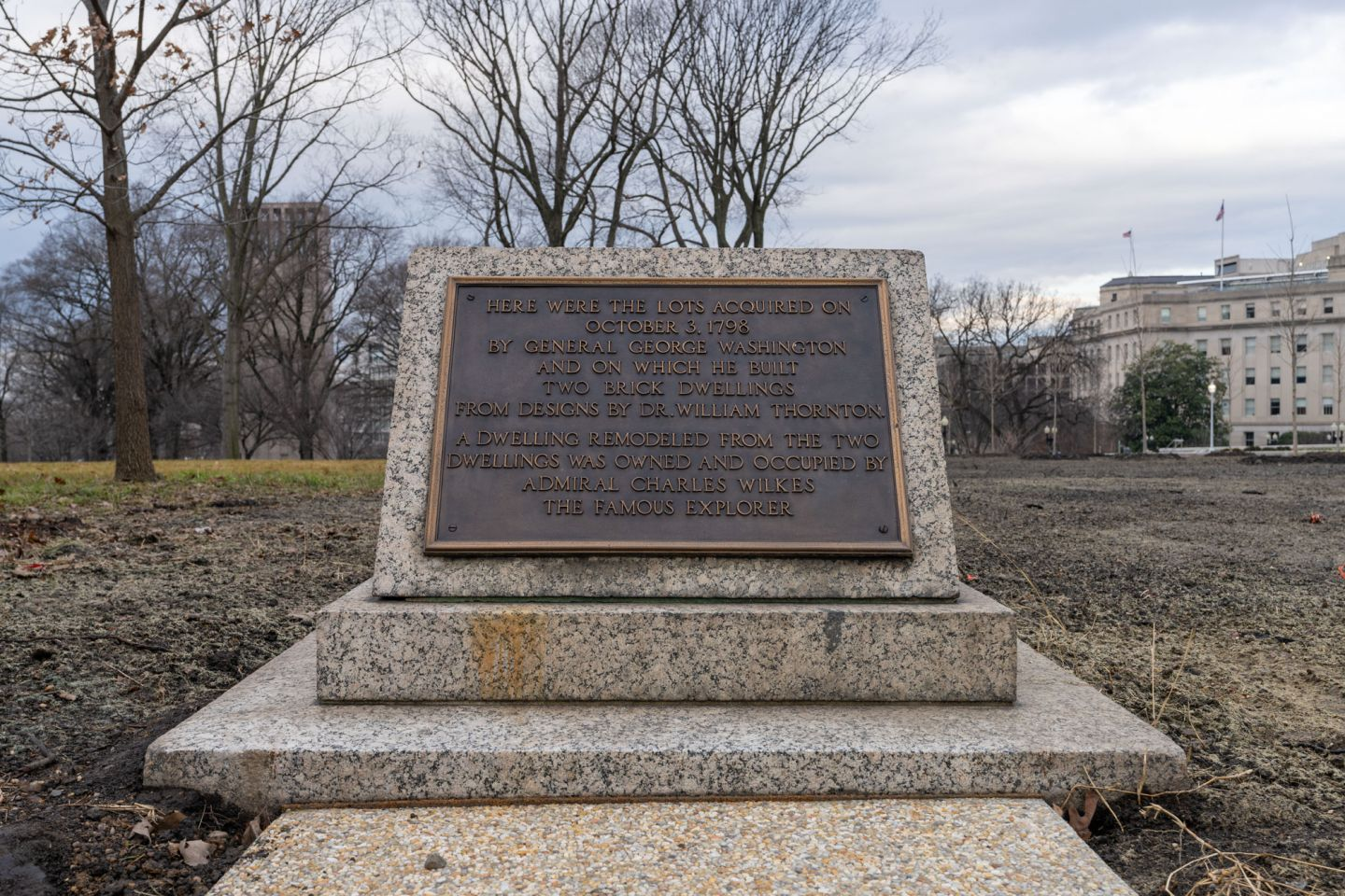 George Washington's Houses Plaque in Senate Parks