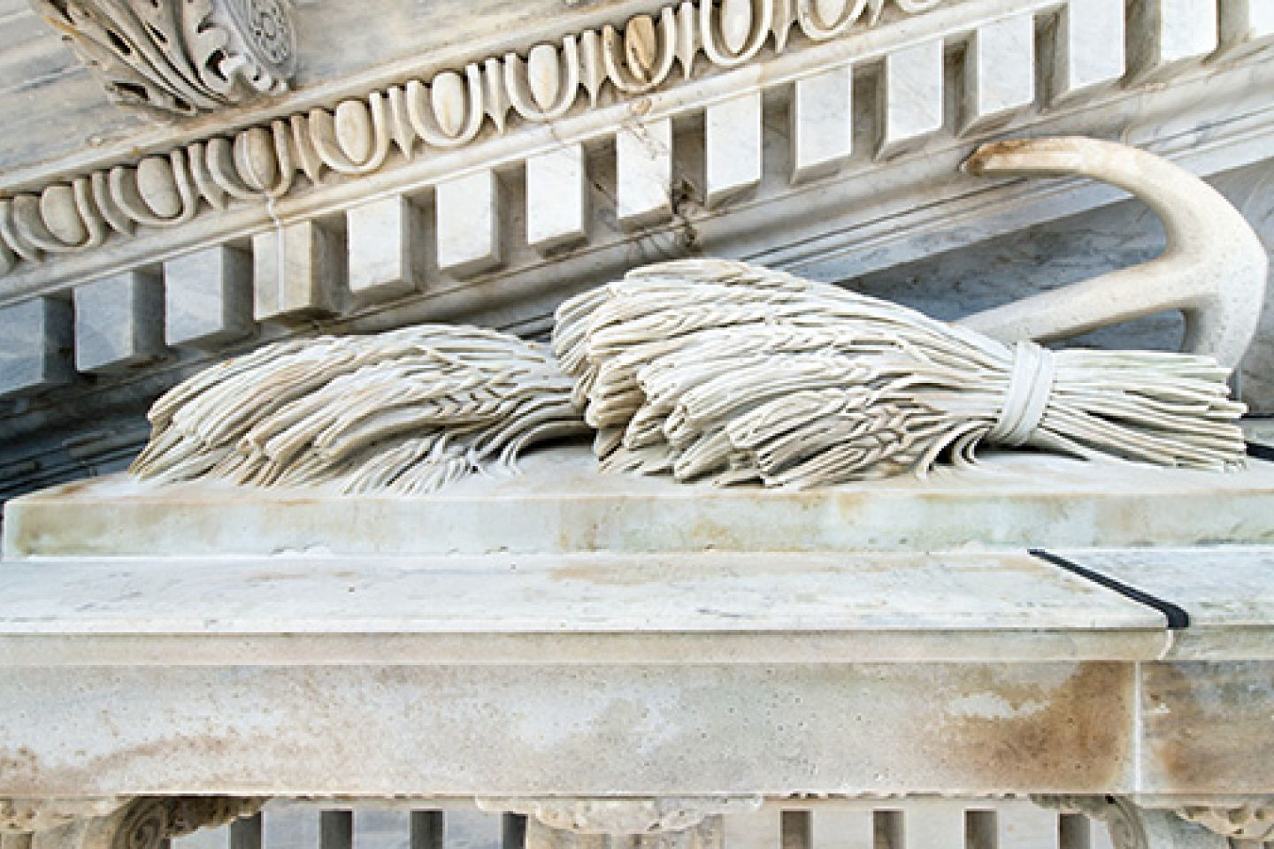 A close-up look at the wheat carved as part of the Progress of Civilization pediment on the Senate wing of the U.S. Capitol.