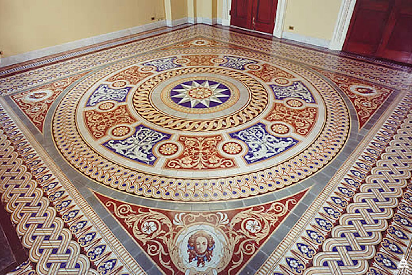 An image of the richly patterned and colored Minton tile floors in the U.S. Capitol.