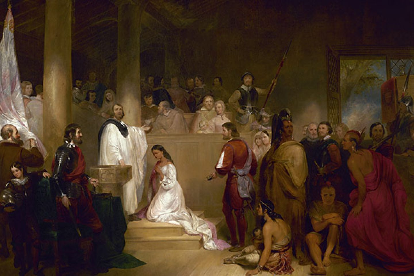 "Historic ""Baptism of Pocahontas"" painting in the U.S. Capitol Rotunda."