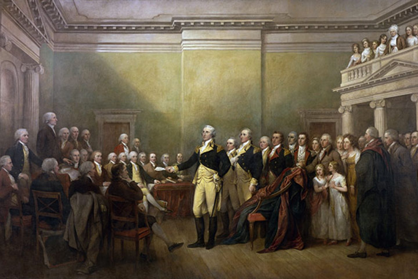 "The ""General George Washington Resigning His Commission"" painting by John Trumbull on display in the U.S. Capitol Rotunda."