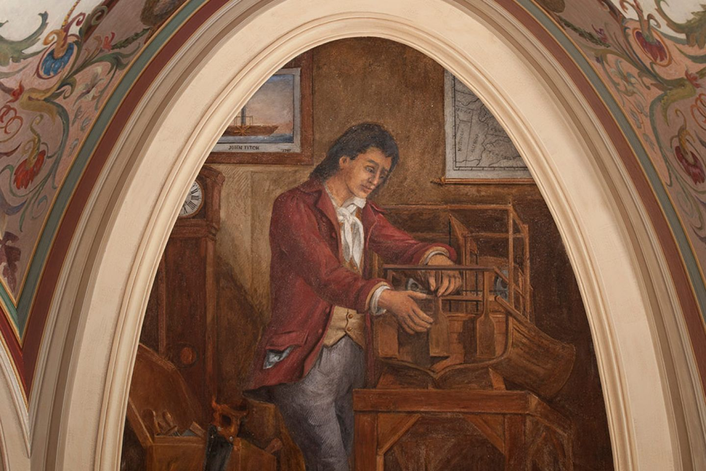 Fresco of John Fitch in the Brumidi Corridors after conservation.