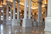 From the mosaic tiled floor to the Corinthian columns and painted archways, the Great Hall in the Library of Congress Thomas Jefferson Building has history and beauty worth stopping to admire.