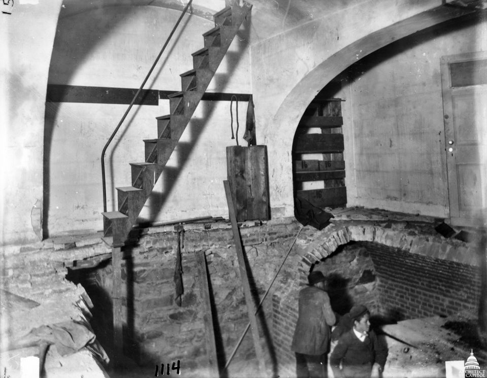 The 1898 gas explosion blew away the stone floor in the small Senate rotunda, exposing the cellar where a fire raged until the AOC's chief electrician crawled through the debris to turn off the gas.