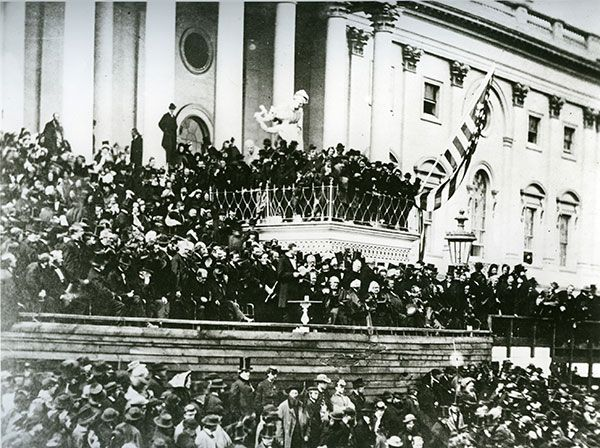 Abraham Lincoln's second presidential inauguration at the U.S. Capitol in 1865.