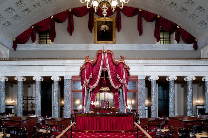 The Old Senate Chamber was restored in 1976 for America's bicentennial.