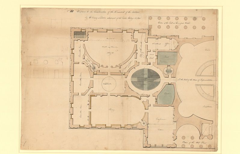 Latrobe's original plan shows what was then the top floor of the north wing (on the left) and Latrobe's vision of half of the larger, unbuilt center section of the U.S. Capitol (on the right).