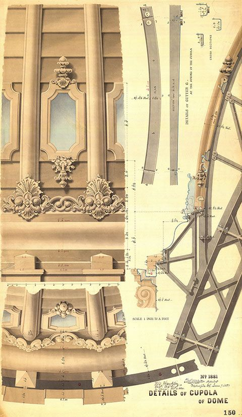Thomas U. Walter's U.S. Capitol Dome drawings detail the many pieces of iron that are connected in a way that secures them and allows for motion.