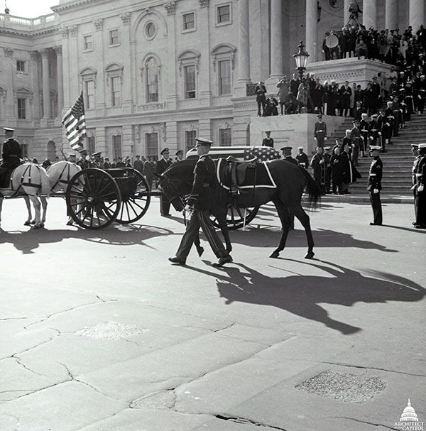 Blackjack on the East Front Plaza of the U.S. Capitol Building next to the casket of President John F. Kennedy.