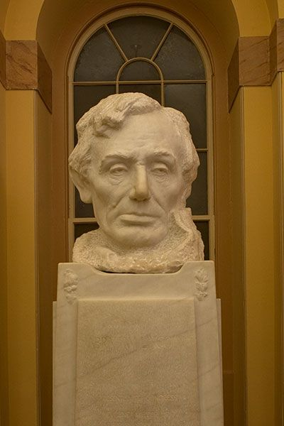 Large bust of Abraham Lincoln in the U.S. Capitol by Gutzon Borglum.